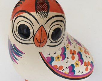 Funky late 60s or early 70s psychedelic pottery money owl - rare