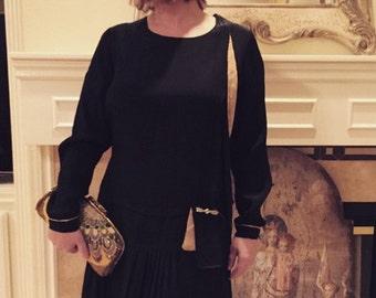 Vintage 1920s Black Silk Dress