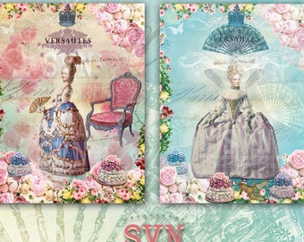 Shabby Chic - Marie Antoinette - Digital Collage Sheet Printable download digital image vintage scrapbooking