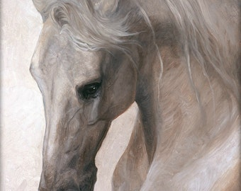 "Horse Art: White Horse Painting, Print 14x20"", ""Free Spirit"""