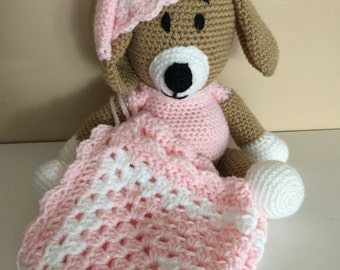 Crochet Pink Sleepy Puppy Dog Bedtime Buddy with Security Blanket