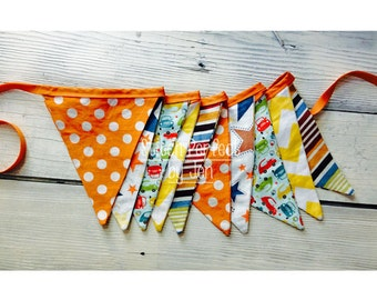 Boy Bunting Banner,  Bright Colors, 10 Fabric Flag Pennants, Baby Boy Nursery Room Decor, Birthday, Shower, Photo Prop, Stars, Cars