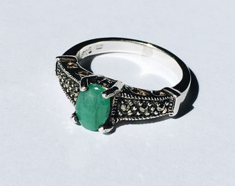 Sterling silver ring with semi-precious green stone and marcasites