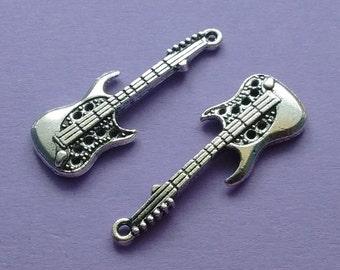 5 pc Guitar Charm Silver - CS2271