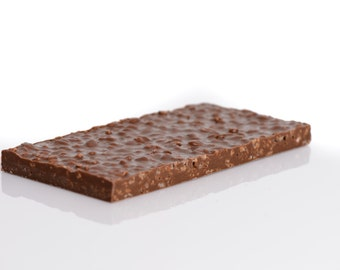 Crispy rice dark chocolate tablet, pufed rice milk chocolate tablet, crispy rice milk chocolate bar, puffed rice dark chocolate bar