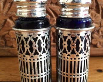 Vintage Salt and Pepper Shakers {Blue Glass}