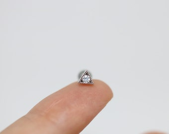Triangle cartilage piercing, tiny piercing earring, 16g cartilage earring, tiny piercing, tiny tragus helix conch, triangle piercing