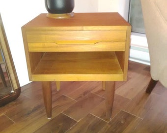 Vintage Teak Pair of Danish Night Tables with Drawer and Shelving Storage