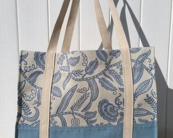 Blue Designer Tote Bag, Beach Bag, Travel Bag
