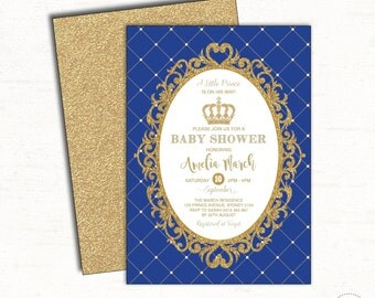prince baby shower invitation royal blue and gold party invite prince invitation glitter