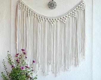 Large Macrame wall hanging Fiber wall art Macrame curtain  Bohemian Wall Tapestry  Banner Macrame Boho Backdrop Macrame garland Cotton cord