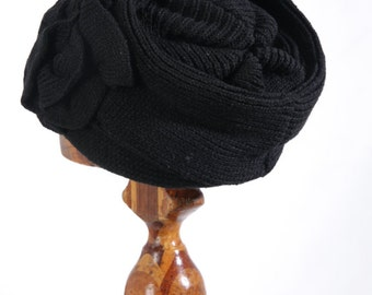 Black Knitted Cloche Hat