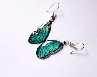 Moth jewelry Butterfly wing gift, Teal earrings women gift for sister, Teal jewelry gift for her, Nature gift jewelry, Nature lover dangle