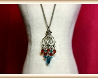 Elegant Antique Bronze and Crystal Chandelier Necklace