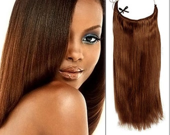 """Halo Hair Extensions 100% Human Remy natural hair. 18"""". 100 grms. Colour #30"""