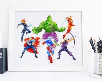 Avengers Print Avengers Watercolor Avengers Superhero Avengers wall art, avengers gift Avengers ...