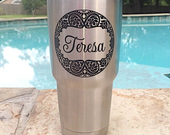 Personalized Yeti, Custom Engraved Yeti, Paisley Print Yeti with Name, Engraved Yeti, Paisley Border Yeti, Christmas Gift for Her Y026