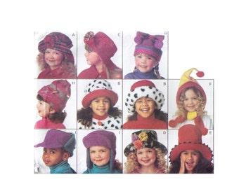 Butterick 3592, 90 Sewing Pattern, Size S-L Children's Hats, Winter Hat Fleece Pattern, Top Hat, Jester Hat, Bow Hat Pattern, Cute Hats