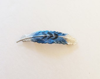Feather Hair Barrette, Blue Feather,  BoHo, Bird, Hand painted barrette