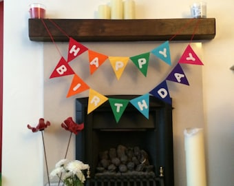 Luxury Felt Happy Birthday Bunting Banner / Garland Rainbow