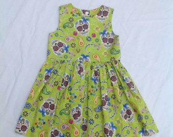 Girls Sugar Skull dress, Halloween, lime green dress, age 2 years,  handmade, one only, girls clothing