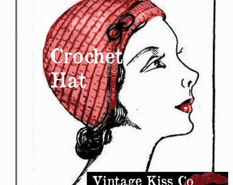 Vintage Gay Little Flapper Crochet  Hat **** INSTANT DOWNLOAD Pdf from VintageKissCo