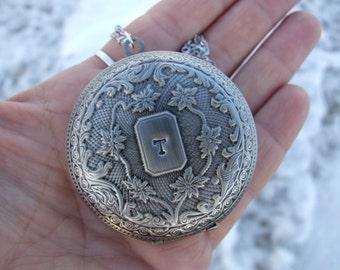 Antique Silver Deep Locket, Personalized Locket, Hand Stamped Double Initial Locket, Keepsake, Monogram Locket, Long Statement Necklace