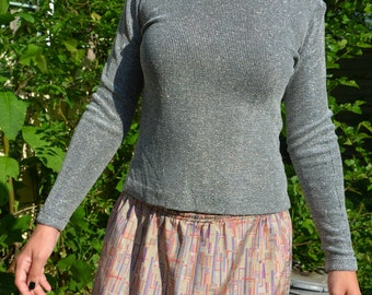 Early 70's Waverly Mills Metallic Silver Long Sleeve Knit