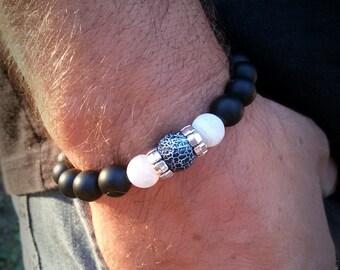 Black Men bracelet Hipster bracelet for Teen jewelry gift 10 mm Men bracelet Onyx jewelry for Men Boyfriend bracelet Black Stretch bracelet