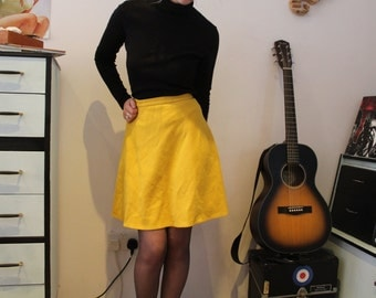 Vintage 1960's Yellow C&A Circle Skirt (Size 6 (UK))