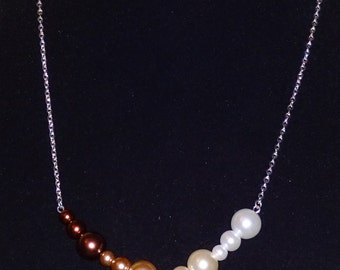 Easy-to-Wear Neutral Glass Pearl Necklace.  Customizable Color Combination