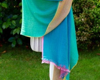 Blue Turqouise Pink and Gold Fancy Nancy Four Colour Pashmina Shawl 100% Cashmere