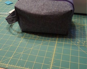 Denim Makeup Bag/Pouch with Handle