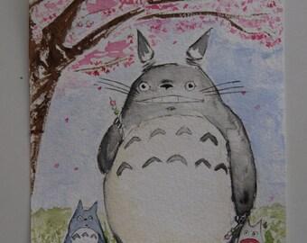 Watercolour Totoro Sakura Hanami Dango