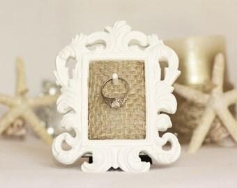 Ring Holder, Ring Holder Frame, Wedding Ring Holder, White Ring Holder, Engagement Gift, Bridal Ring Holder Frame