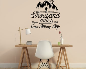 "The Journey of A Thousand Miles - Inspirational Wall Decal 22""X25"""