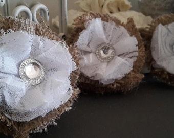 Shabby Chic Burlap & Lace Magnet Set