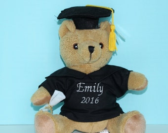 Personalized Graduation Gift Stuffed Bear with Embroidered Name/Date