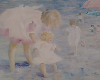 Prints  Framed       Impressionist Style       Children at the Ocean        Hélène Léveillée       double matted