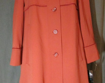 Mod Raincoat Dark Orange New Old Stock Forcaster of Boston 1960s | NOS | New with Tags | Vtg 11/12 | Modern 10-12 | Medium Large