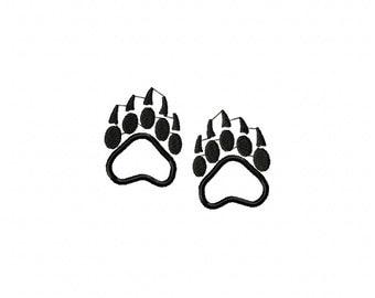Bear tracks machine embroidery design, bear tracks applique design, bear embroidery design, animal tacks embroidery design