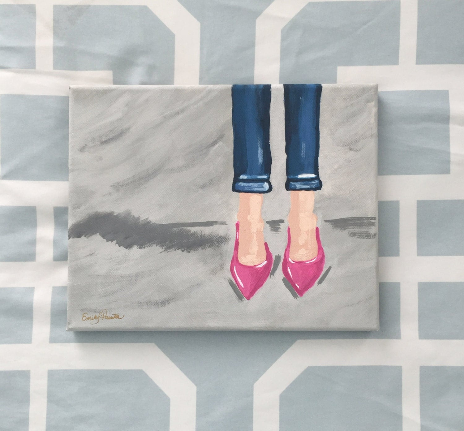 pink shoe painting with cuffed acrylic on canvas