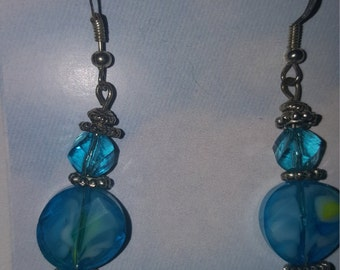 Blue Glass Focal Bead w/crystal