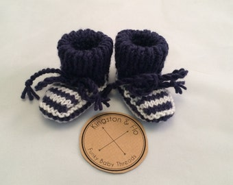 Navy and White Striped Merino Wool Bootees