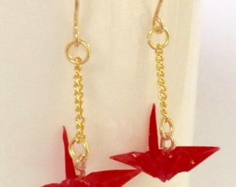 Small Japanese origami earrings, hand folded, wedding, bridesmaids, colorful, Japanese handmade, rainbow