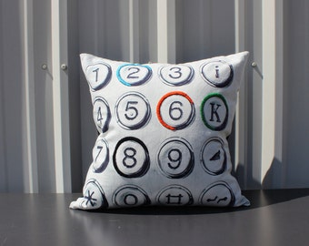 Typewriter Boho Throw Pillow : 18 x 18 Number Letter Pillow Cover