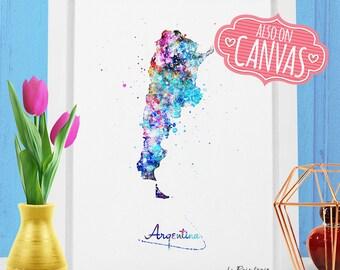 Argentina Map Canvas Watercolor, Argentina Art Print, Argentina Poster Map, Argentina Canvas Art Prints 1 Wall Art Decor Argentina Map Print