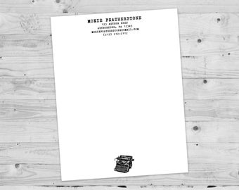 Author Letterhead | Typewriter Stationery | Query letter, simple, novel, writer, classic, old fashioned, personalized, custom, contact