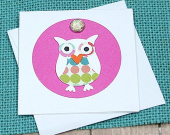 "Polka-Dot Owl Mini-Card, Gift Tag, Birthday, Thank You, Thinking of You, Shower, Just Because, Child's Party, All-Occasion - 3"" by 3"""