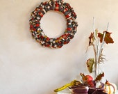 Wool Wreath in Gray Red & Gold / Rustic Winter Decor Holiday Wreath
